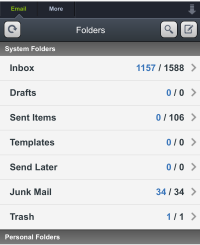 Mobile Email system and personal folders page